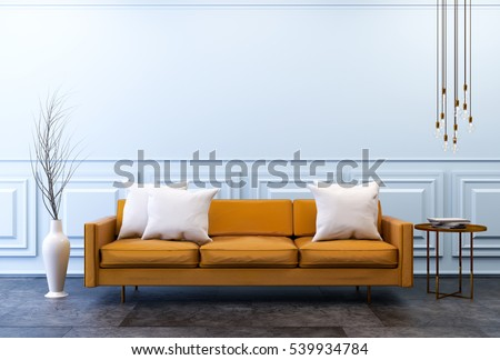 Modern vintage interior  ,living room, Brown leather sofa  on dark  concrete flooring and classic light blue wall, 3d render