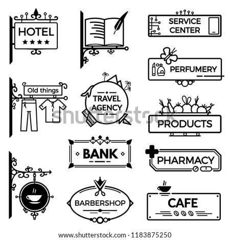 Modern vintage wrought metal signboards and plastic retro billboards products. A signboard for a hotel, a library, a shop, a cafe, a real estate agency, a bank, a hair salon, a pharmacy.
