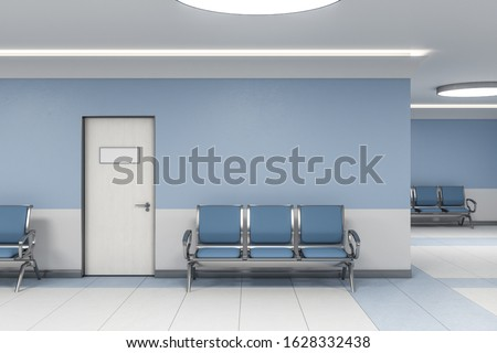 Modern waiting room in blue medical office interior with chairs and blank wall. Medical and healthcare concept. 3D Rendering Foto stock ©