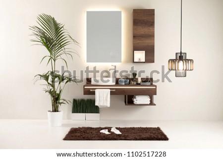modern wall clean bathroom style and interior decorative design, modern lamp