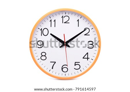 Modern wall clock isolated on white background with clipping path #791614597