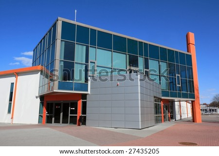 Modern warehouse and office building entrance