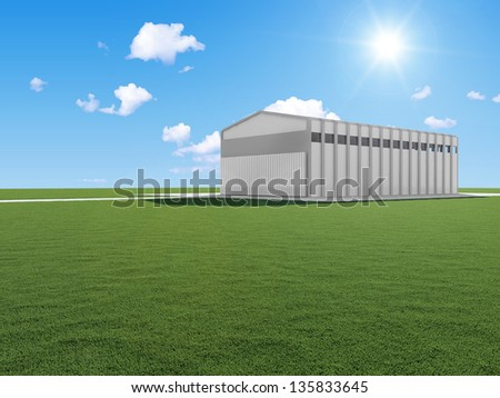 Modern Warehouse on beautiful landscape with sun and clouds