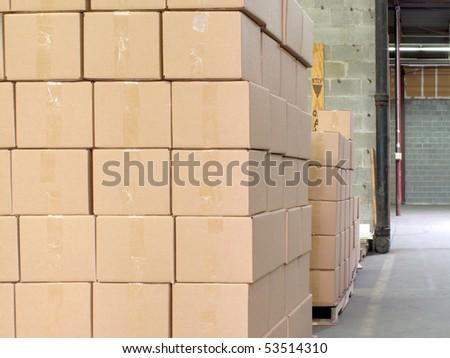 Modern warehouse with cardboard cartons ready to ship