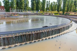 Modern wastewater treatment plant. Round tanks for sedimentation of dirty water