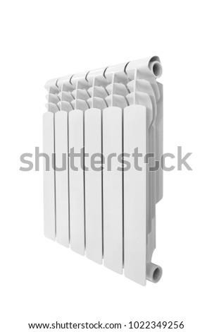 Modern water heating white aluminum bimetalic radiator isolated on white background #1022349256