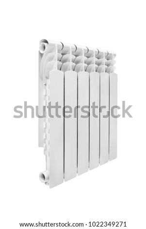 Modern water heating white aluminum bimetalic radiator isolated on white background #1022349271