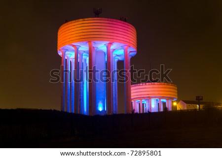 Modern Water Tower, Red/Orange
