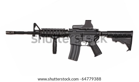 Modern weapon series. US Army M4A1 Carbine with tactical grip and holographic sight. Object isolated on white backgound.