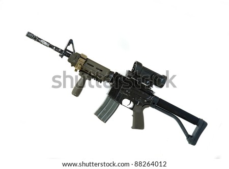 Modern weapon series. US Army Spec Ops M4A1 custom build carbine with RAS Viltor-style upper receiver, red dot sight, tactical hand grip and crane stock. Studio shot isolated on a white backgound.