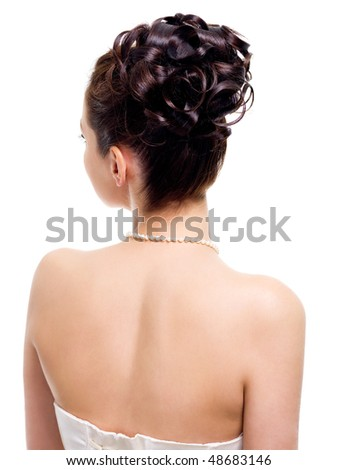 modern wedding hairstyle, rear view