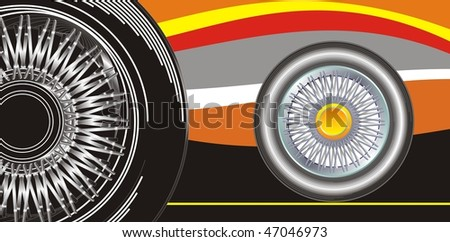 Modern wheel on a abstract background, sport style illustration
