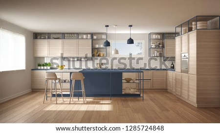 Modern white and blue kitchen with wooden details and parquet floor, modern pendant lamps, minimalistic interior design concept idea, island with stools and accessories, 3d illustration