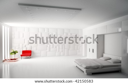 Modern White Bedroom With Red Armchair Interior 3d Rend