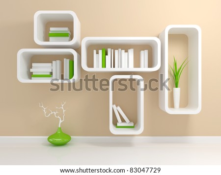 Modern white bookshelf with a white and green books against beige wall.