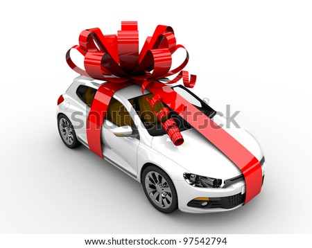 Modern white car with ribbon like a present