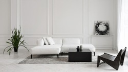 Modern white designer sofa on legs with cushions on grey carpet in middle of minimalistic living room with high ceiling, futuristic chair, green plant, abstract picture and two vases on table