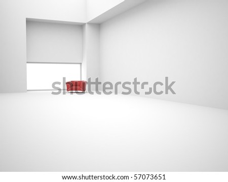 Modern white empty 3d interior with chair