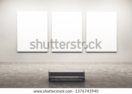 Modern white exhibition hall interior with empty banners on wall. Mock up, 3D Rendering  Сток-фото ©