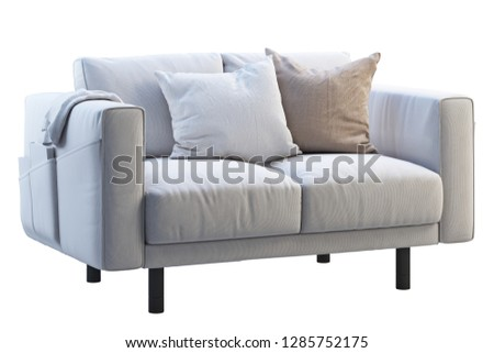 Modern white fabric sofa with colored pillows and plaid on white background. Scandinavian interior. 3d render #1285752175