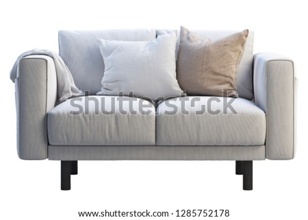 Modern white fabric sofa with colored pillows and plaid on white background. Scandinavian interior. 3d render #1285752178