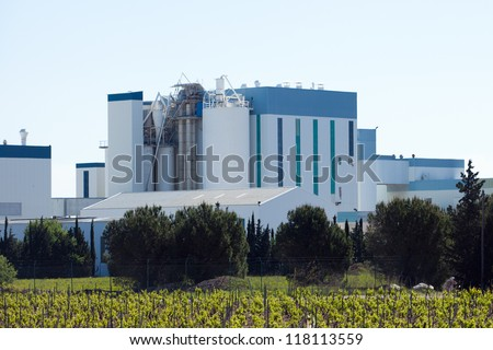 Modern white factory building complex #118113559