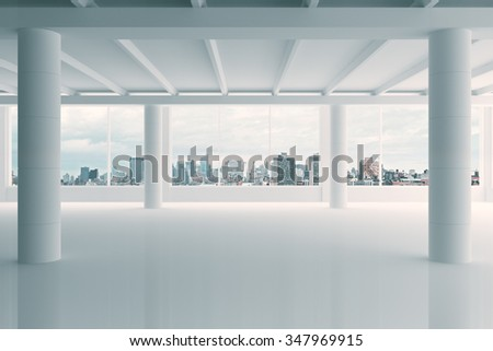 Modern white hangar area with city view 3D Render