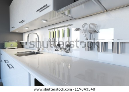 Modern white kitchen clean interior design - stock photo