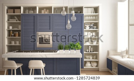 Modern white kitchen with blue wooden details in contemporary luxury apartment with parquet floor, vintage retro interior design, architecture open space living room concept idea, 3d illustration