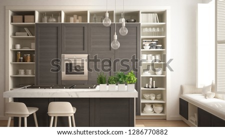 Modern white kitchen with dark wooden details in contemporary luxury apartment with parquet floor, vintage retro interior design, architecture open space living room concept idea, 3d illustration
