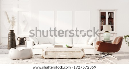 Modern white living room interior design with decoration and empty mock up picture frames 3D Rendering, 3D Illustration
