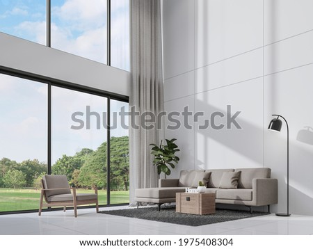 Modern white living room with sunlight shine into the room 3d render,There are empty white wall ,decorate with gray fabric furniture, large window overlooking nature view