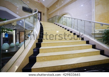 Modern white marble stairs for luxury interior. #429833665