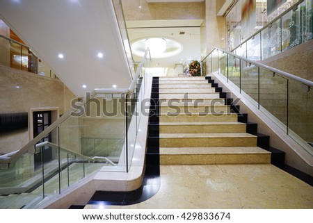 Modern white marble stairs for luxury interior. #429833674