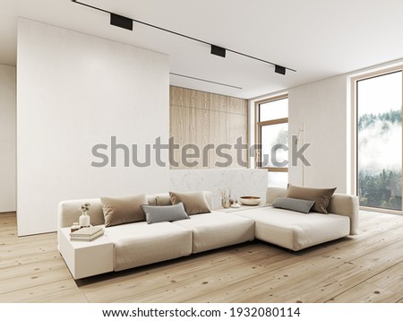 Modern, white minimalist interior with kitchen, sofa, wood floor, wall panels and marble kitchen island. 3d render illustration mock up. Сток-фото ©