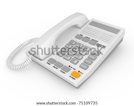 Modern white office telephone on a white background.