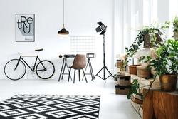 Modern, white room with green plants, carpet, bike, desk, chair