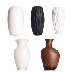 Modern white tall ceramic vase, decoration object isolated on white background..
