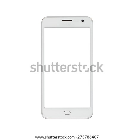 Modern white touchscreen android cellphone tablet smartphone isolated on light background. Empty screen