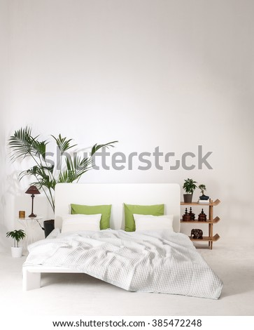 modern white wall bedroom and bed with green pillow minimal decor