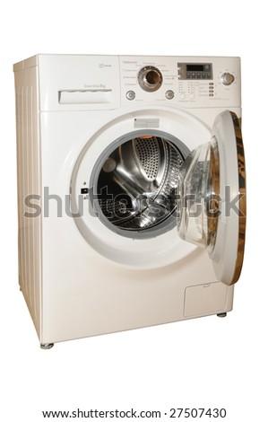 Modern white washing machine, isolated on white background