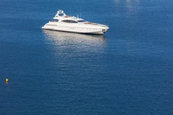 Modern white yacht at the sea
