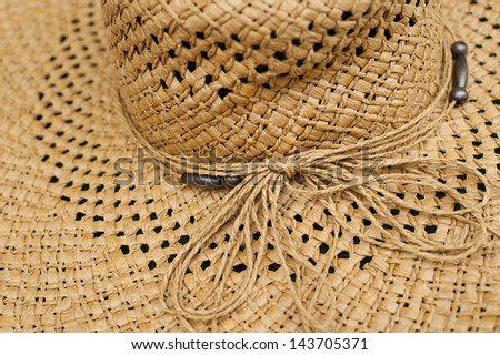 Modern wicker straw hat - stock photo