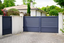 modern wicket and grey gate of home aluminum portal suburb door in house