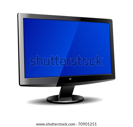 Modern wide screen LCD computer screen - Vector file is also available