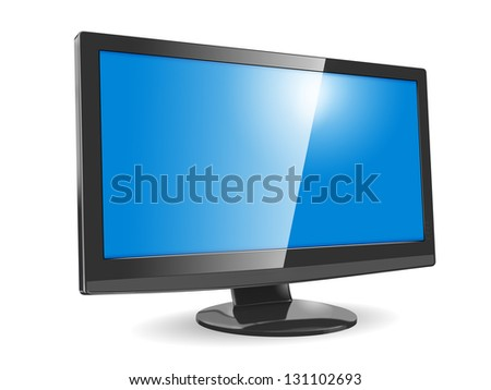 Modern widescreen display on white background