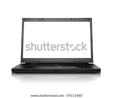 modern widescreen laptop isolated on white (focus on screen)