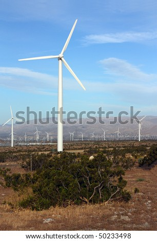 Modern Wind Mill Electric Power Station, Palm Springs, CA - stock photo