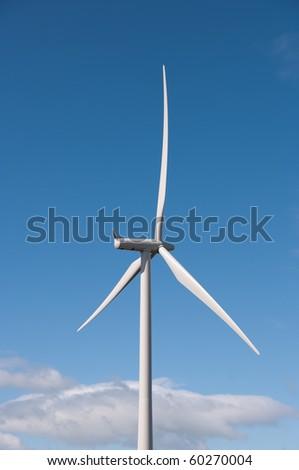 Modern wind turbine on a wind farm in Scotland, Europe.