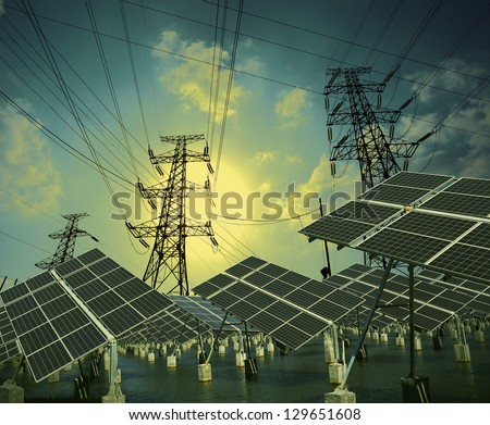 Modern wind turbines Green Energy and Power transmission tower